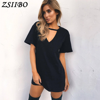 Women Tshirt mini Dress Choker V-neck Summer Dresses Long Short Sleeve Casual Sexy Halter Boho Beach Dress Vestidos autumn