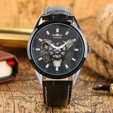 Mechanical Watch Men Automatic Watches Skeleton Self Winding Tevise Steampunk Mens Watches Leather Band Clock Male reloj hombre стоимость