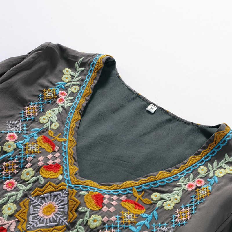 Женские блузки с цветочной вышивкой, рубашки из вискозного волокна, элегантные женские 2019, новый стиль бохо, повседневные топы с v-образным вырезом и длинным рукавом, Мягкие Блузки