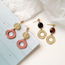 Summer trend simple geometric round bead with pink white enamel earrings women jewelry