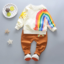2018 Girls Boys Clothing Set Spring Baby Unique Design Rainbow Tassel Jumper + Pants Children Kids Hot Sale Clothes Hoody Set