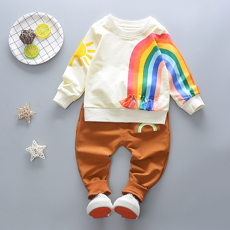 2018 Girls Boys Clothing Set Spring Baby Unique Design Rainbow Tassel Jumper + Pants Children Kids Hot Sale Clothes Hoody Set