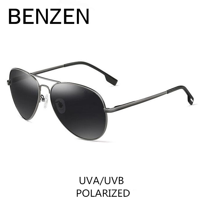 BENZÈNE Pilote lunettes de Soleil Hommes HD Polarisées Mâle Lunettes de Soleil UV 400 Lunettes Pour Conduite Vintage Shades Avec Le Cas 9091