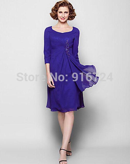 Мать невесты платье длиной до колен 3/4 длина рукава шифон оболочка / колонки платье