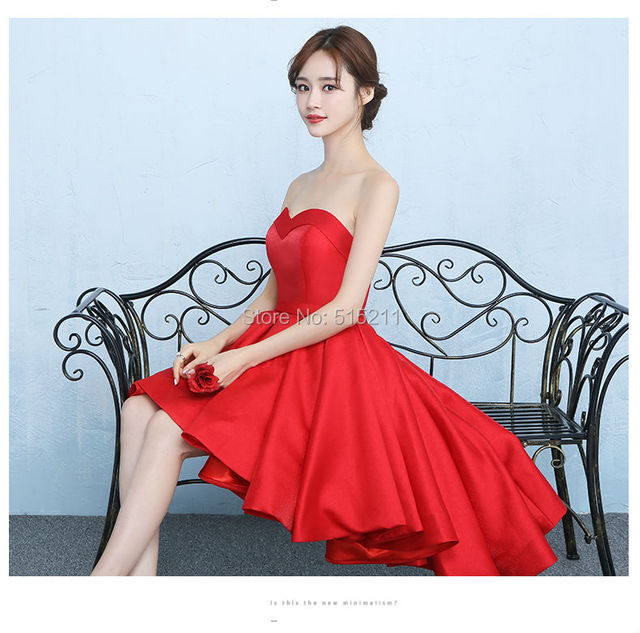 Lovely Red Short Bridesmaid Dresses 2017 madrinha Sweetheart High Low Back  Lace Up Wedding Guest Party 10d9cd5d9a1b