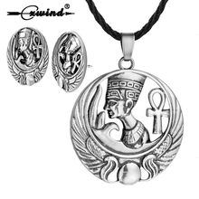 Retro Egyptian Ankh Necklace For Women Men Anubis Amulet Pendant Earring Set Old Ancient Egypt Goddess Cross Necklace Jewelry(China)