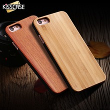 KISSCASE Original Real Wood Case For iPhone 5 5s SE 6 6s 7 Plus Natural Bamboo For Samsung S6 S7 S8 Edge Hard Back Cover Shells