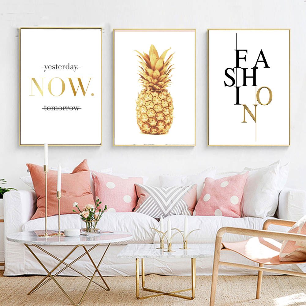 Buy pineapple nordic poster and prints minimalist wall art canvas painting Canvas prints for living room