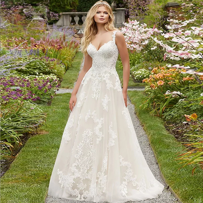 White Wedding Dresses 2019 Vintage Plus Size A-Line Sweetheart Applique Floor-Length Lace Zipper Back Wedding Gown For Girls