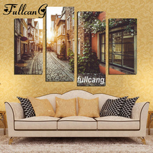 scenery diy 4pcs/set mosaic full diamond embroidery city streets painting cross stitch square drill multi-pictures E444