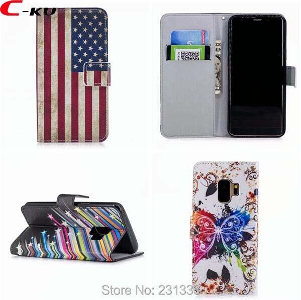 C-ку кожаный бумажник чехол для samsung Galaxy S9 S8 плюс S7 S6 край C5 C7 J3 PRO цветок стенд ID Card мультфильм Обложка 100 шт.