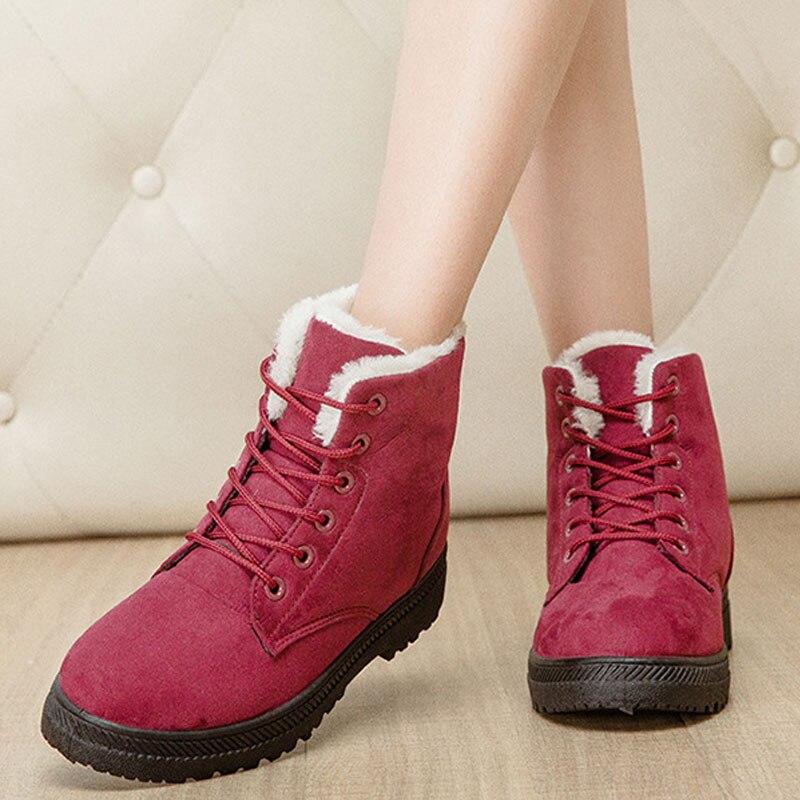 02b6704f73 Mulheres Botas de 2018 Novas Mulheres Sapatos de Inverno Mulheres Botas de  Neve Quente Botas plush Fur Lace up inverno Botas Para mulheres plus size  em ...