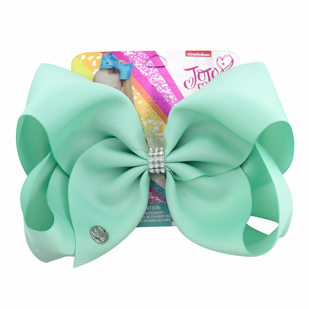 "1 Piece 8"" Large JoJo Clip Grosgrain Ribbon Bow With Alligator Clips For Kids Hairpins With Rhineston Hair Accessory(China)"