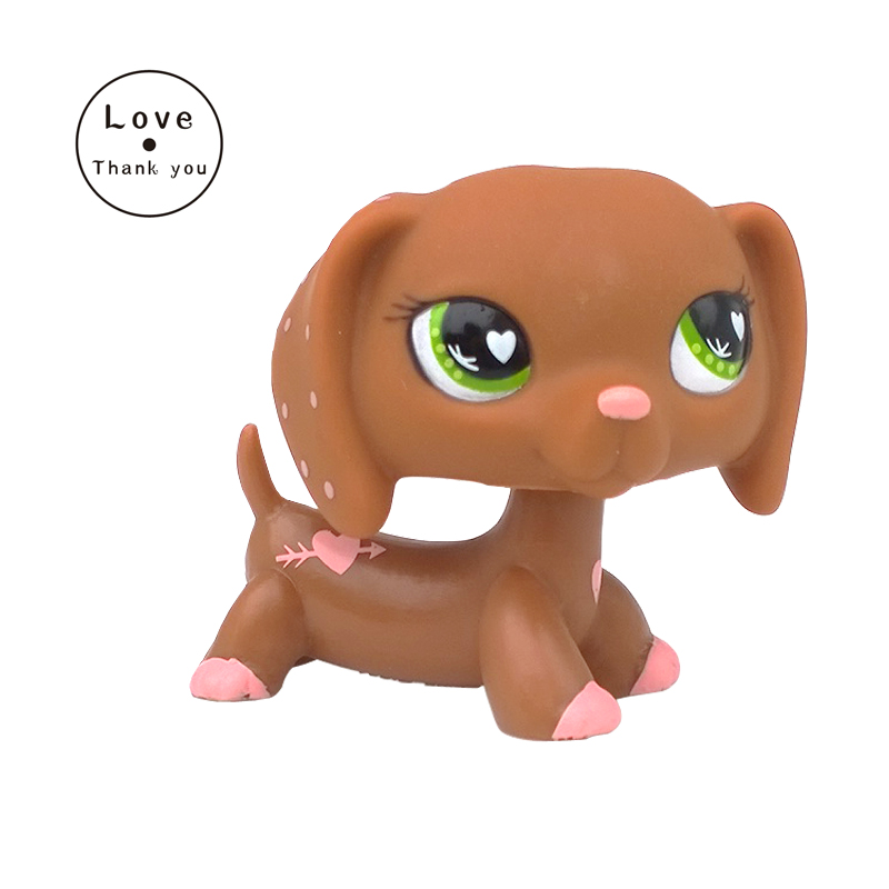 pet shop toys DACHSHUND #556 light brown sausage dog pink heart green eyes