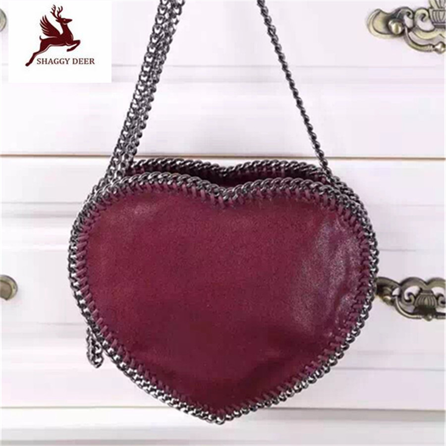 Shaggy Deer Heart Shape Fuax Leather PVC Small Cute Chain Shoulder Bag Lovely Ladies Crossbody Handbag Christmas Gift mini gray shaggy deer pvc quilted chain bag with cover real picture