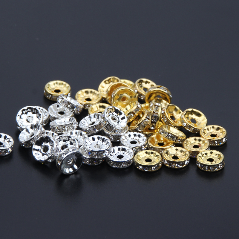 500PCS Gold And Silver Crystal Rhinestone DIY Production Charm Necklace Bracelet Jewelry Accessories 6mm 8mm 10mm(China)