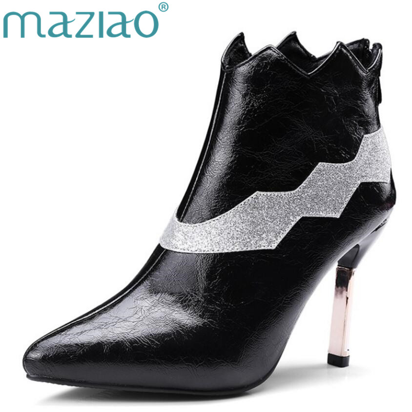 MAZIAO New Women sexy Shoes Boots High Heels Ankle Boots Pointed Toe Martin Boots Zip Ladies Shoes White Plus Size 33-43 sexy women boots solid flock suede zip high heels boots lady stiletto pointed toe ankle boots martin boot red white black