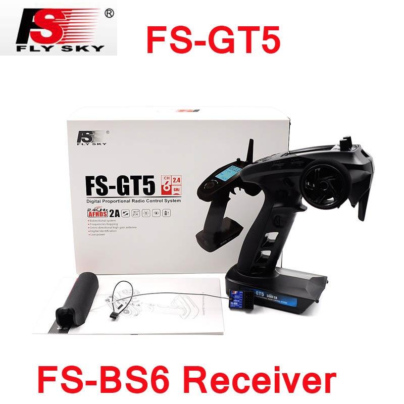 Flysky Voler Ciel FS-GT5 2.4g 6CH Émetteur À Distance Contrôleur Avec FS-BS6 Récepteur Intégré Gyro Fail-Safe Pièces Pour RC Voiture Bateau