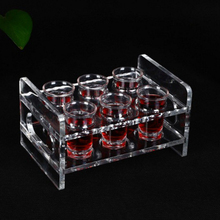 6 Set 45ml Shot Glass with Acrylic Transparent Cup Holder for Barware Kitchen Storage Liquor Tray Whisky Brandy
