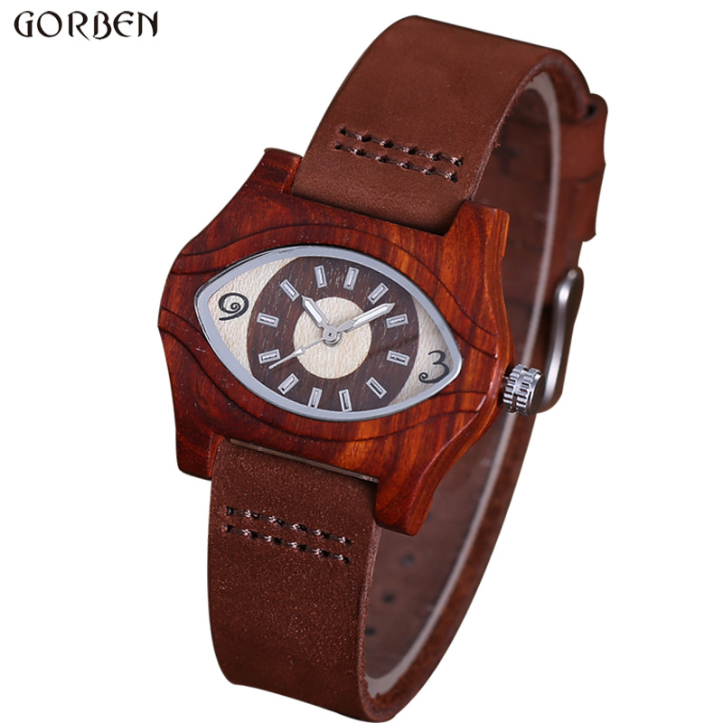 Newest Top Brand Mens Wood Watch Unique Eyes Design Dial Wooden Quartz Watches Fashion Style Leather Band Mens Wood Watch Gifts