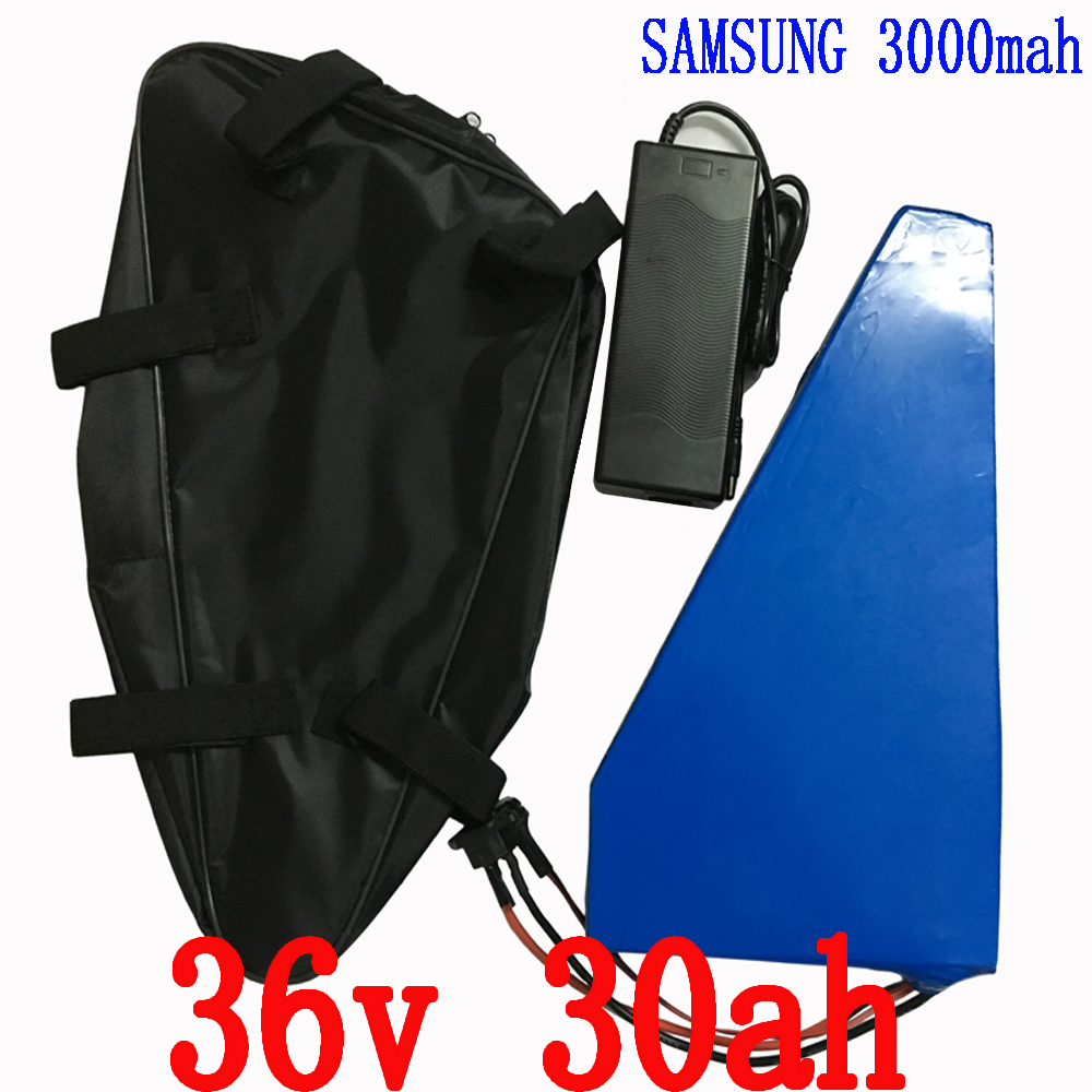 36V 30AH 1500W Triangle battery  Electric Bike 36V Lithium ion battery pack with bag Use samsung 3000mah cell  with 50A BMS high quality e bike triangle battery 36v 20ah li ion battery pack for 36v 1000w 500w 8fun bafang moto kit with charger bag bms