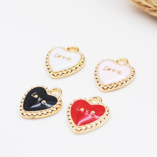 20pcs/lot Fashion Heart Shape Lover Oil Drop Charms Alloy Pendant fit for bracelet DIY Fashion Jewelry Accessories