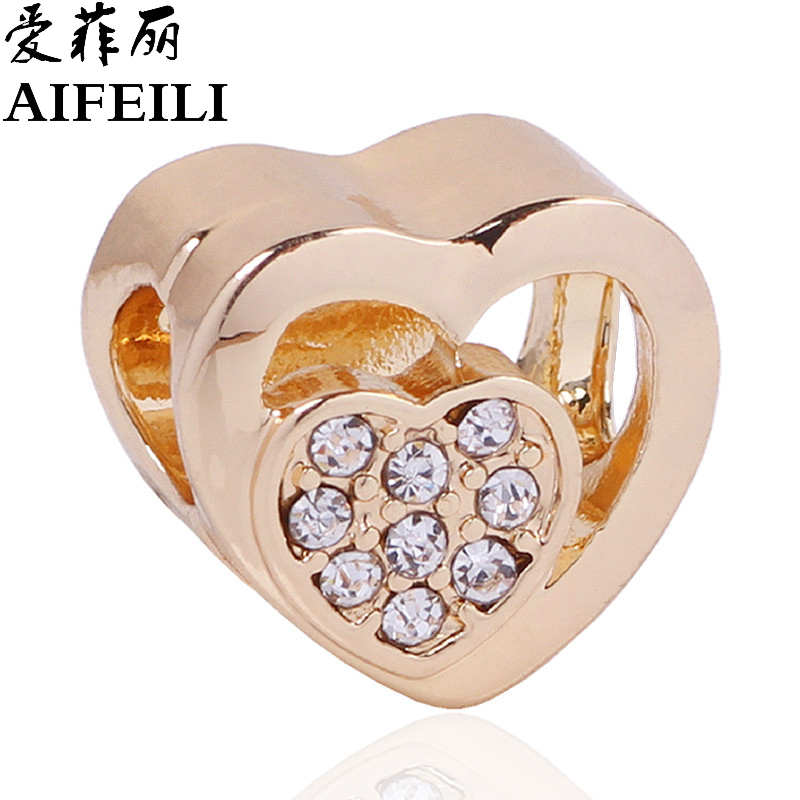 AIFEILI Fashion Gold Color Heart Shape Charm Beads Fit Pandora Charm Bracelet DIY Original Silver Jewelry Women Gift