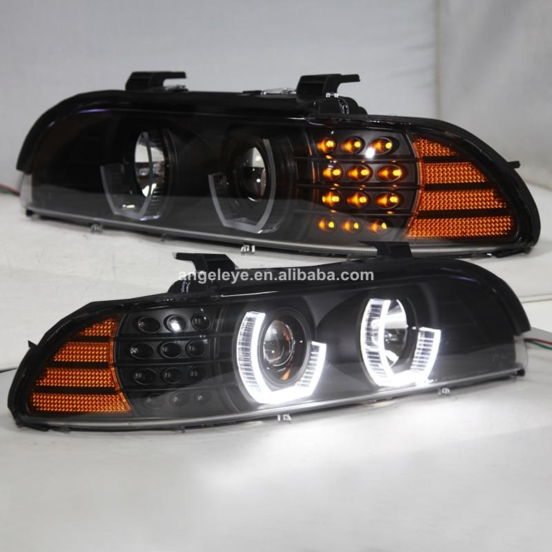 Pour BMW E39 phare Angel Eyes 1995-2003 noir boîtier jaune réflecteur JX