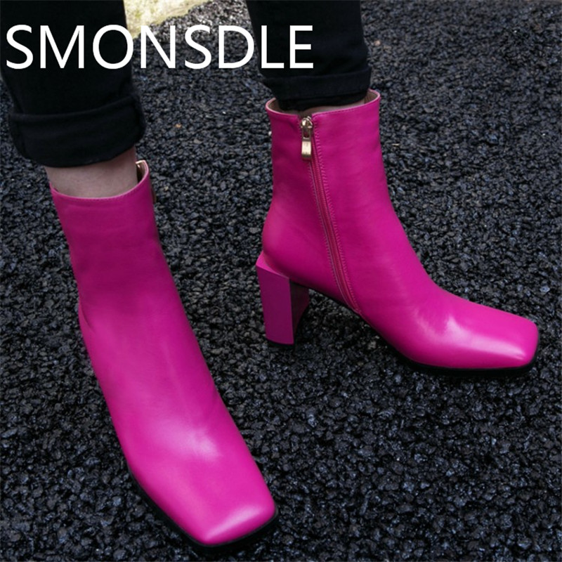 цены SMONSDLE New Fashion Black Genuine Leather Women Ankle Boots Square Toe Side Zip Women Autumn Winter Martin Boots Shoes Woman