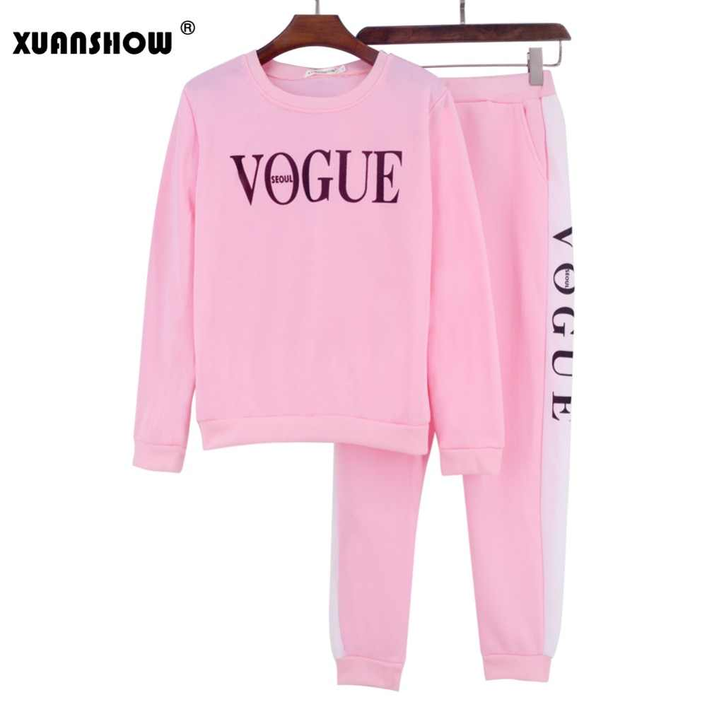 XUANSHOW Trainingspak 2019 Herfst Winter vrouwen Pak VOGUE Brief Gedrukt 0-Hals Sweater + Patchwork Lange Broek 2 delige Set