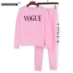 XUANSHOW спортивный костюм 2018 осень-зима женский костюм VOGUE с буквенным принтом 0-Neck Толстовка + Лоскутные Длинные брюки комплект из 2 предметов
