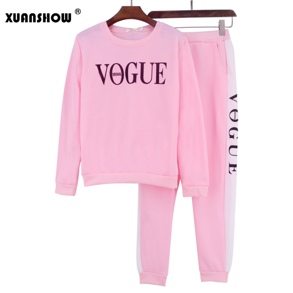 Xuanshow Tracksuit Autumn Winter Women's Suit Vogue Letter Printed 0-neck Sweatshirt + Patchwork Long Pant 2 Piece Set