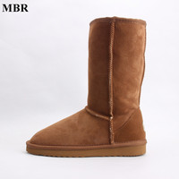 MBR Suede High Snow Boots For Women Winter Shoes Sheepskin Leather Fur Lined Big Girls Tall