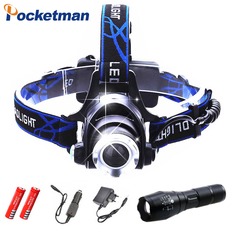 LED XM-L T6 Chips Headlight Headlamp Rechargeable Zoom Head Light Lamp 2x18650 Battery+Car Charger+DC Charger Flashlight