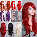 Long Curly Wavy Layer Full Wig Rainbow Color Sunny Style For All Women Cosplay Costume Party Fancy Dress Synthetic Wigs