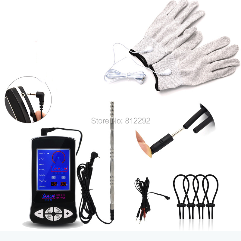 Electric Shock Kit Penis Extender Cock Ring Clitoris Massage Stimulate Pads Vagina Anal Plug Gloves Sex Toy For Men Women Set cock ring silicone ring penis ring with fun sex toys for men sex rotation fun for women adult penis sleeve extender for couples