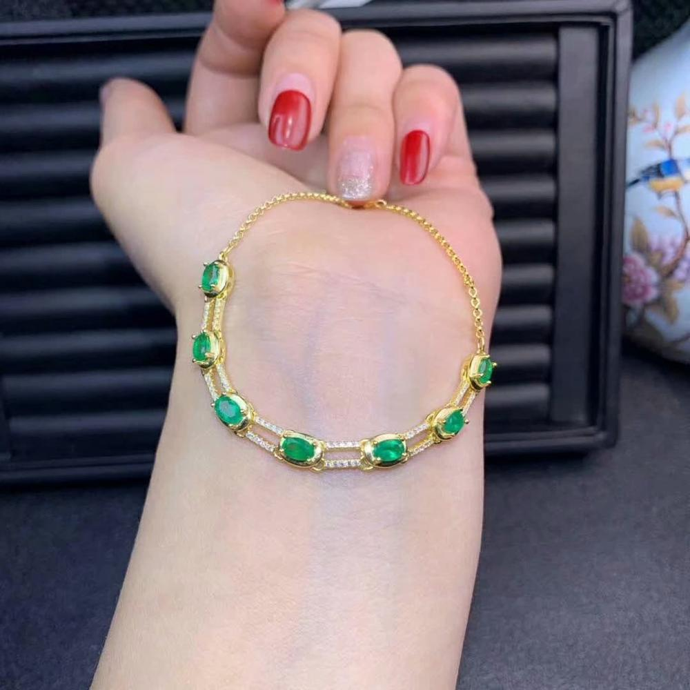 shilovem 925 sterling silver sapphire ruby Emerald Bracelets fine Jewelry women trendy wedding plant new gift dl0305880agmlh in Bracelets Bangles from Jewelry Accessories