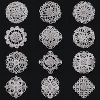 Wholesale 12 Pieces Mixed Silver Plated Clear Crystal Diamante Classic Wedding Pin Brooches For Women