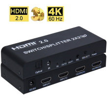 4K 2X2 HDMI 2.0 Switch/Splitter Support 4K60Hz RGB/YUV 4:4:4 IR control Support for Downscaling ,3.5mm jack Audio Extractor