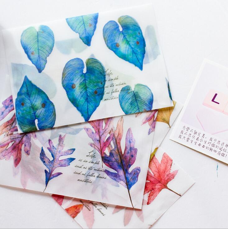 8 Pcs/lot Song Of Fallen Leaves Dull Polish Translucent Envelope Message Card Letter Stationary Storage Paper Gift