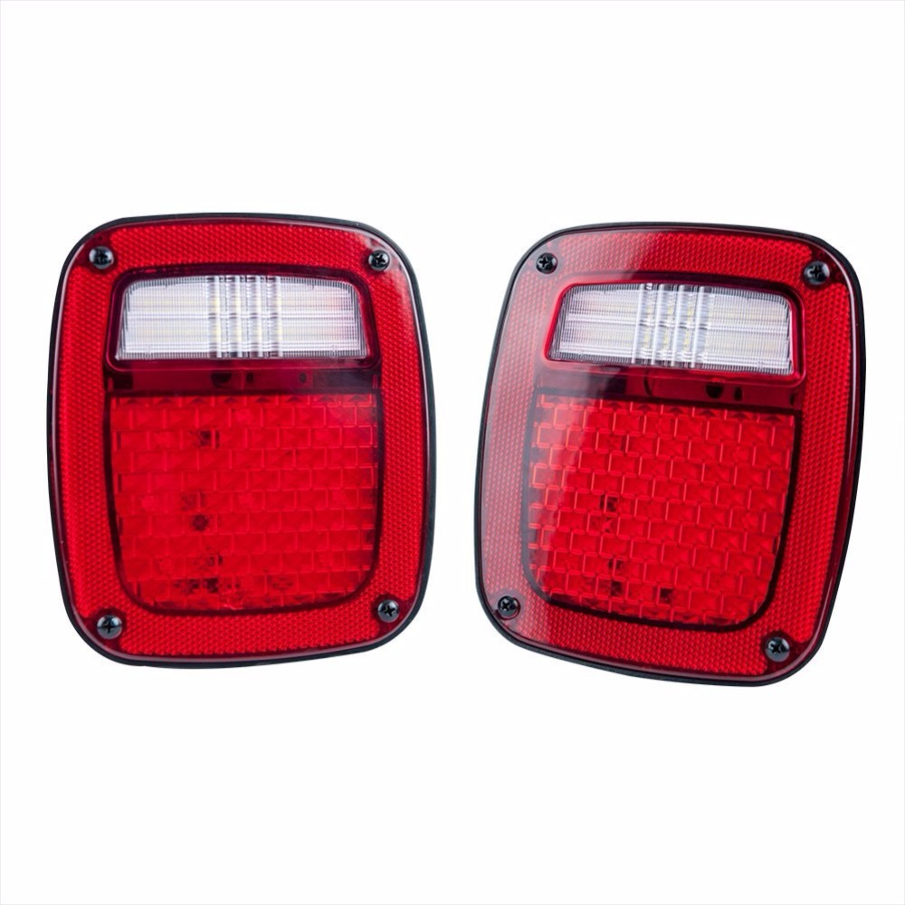 For Jeep YJ TJ LJ Replacement Tail lights Brake Turn signal Red Lens With LED License Plate Lights USA Version 2PCS 2pcs 3157 78 ex chipsets 3057 3056 4157 led bulbs for turn signal tail brake stop lights red white amber color double connectors