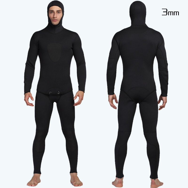 2-piece Hooded Wetsuit Men Full Suit Long Sleeve Mens Wetsuit for Scuba Dive Surf Snorkeling Neoprene Wet Suit Men in 3mm Black neoprene 2mm men black long sleeve wetsuit jacket tops surf diving swim suit full zipper scuba snokling men bathing beach shirts