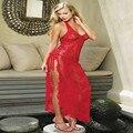Quente Plus Size M L XL XXL XXXL XXXXL 5XL 6XL mulheres Sexy lingerie erótica Vermelha Sleepwear pijama camisola vestido longo de vestir vestido