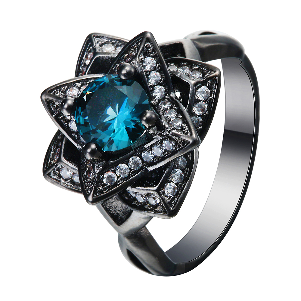 luxury wedding rings luxury the created topaz flower blue cz zircon 5628