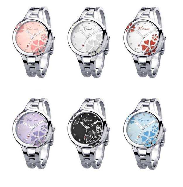 2018 Women Kimio Brand Quartz Bracelet Wristwatch Stainless Steel Clover Crystal Ladies Dress Watches For Woman Clock