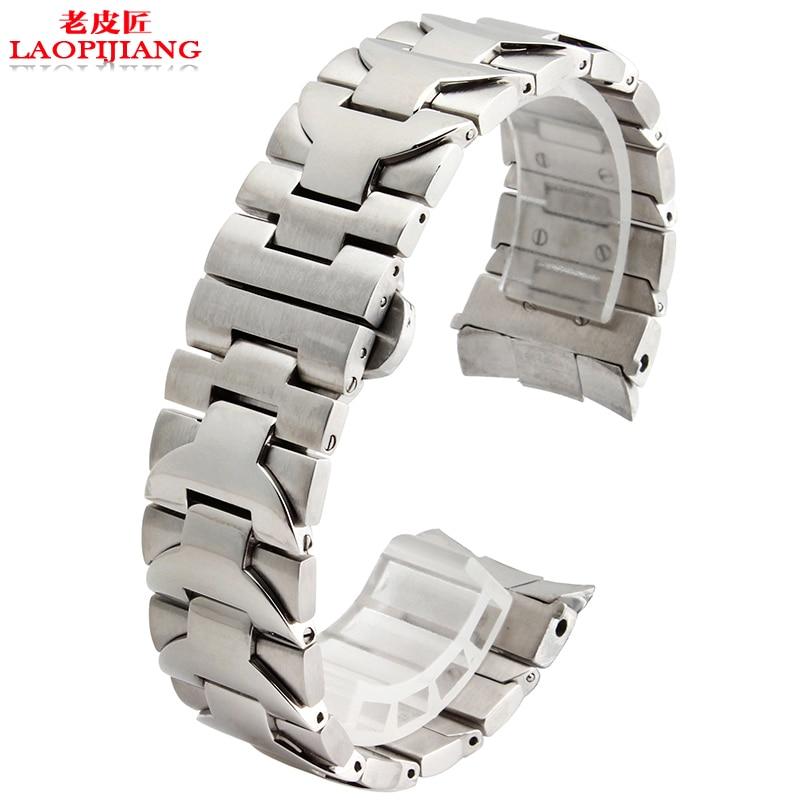 Fit PAM 22mm 24mm qualité supérieure argent Solide acier inoxydable Bracelet Bracelet de montre Bracelet Hommes marque De Luxe montres mécaniques