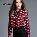 {Guoran} Long Sleeve Plaid Blouses For Women 2016 Summer Ruffled Collar Chiffon Shirt Female Office Work Tops Ladies Clothing