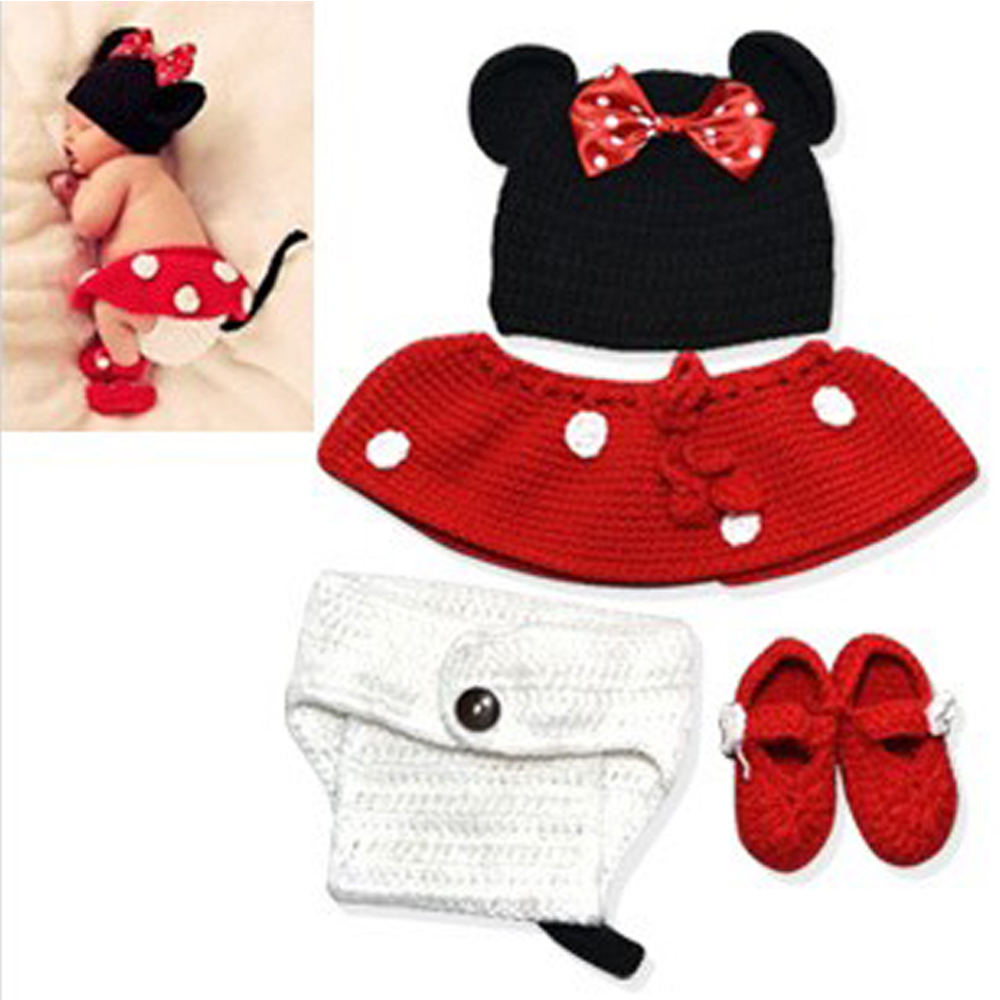 4PCS  Animal Mouse Newborn Baby Girl Clothing Shaped Baby Costumes Knitted Clothes Crochet Outfit Baby Newborn Photography Props