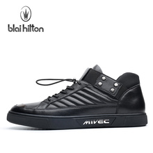Blaibilton Breathable High Top Skateboard Shoes Man Brand Genuine Leather Men's Sneakers Elastic band Black Sport Shoes For Men