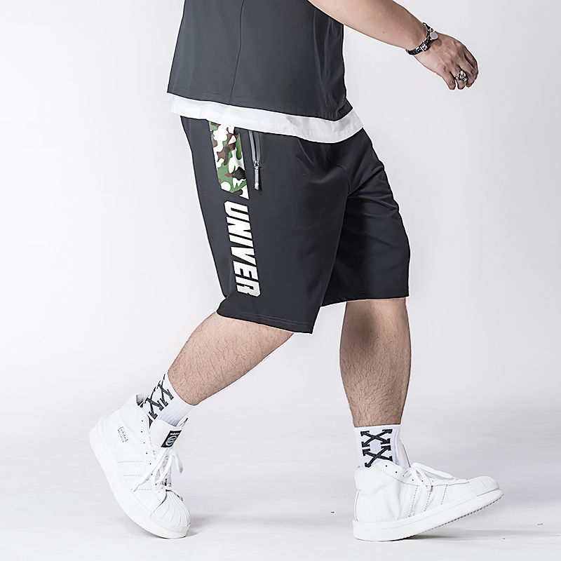 Free Shipping 2019 new arrival men's plus size streamline cotton half-pants loose with word print summer BIG MAN(China)